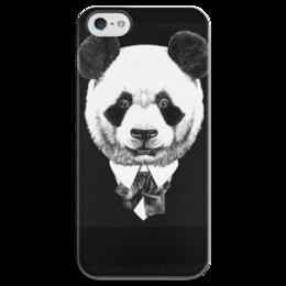 """Чехол для iPhone 5 глянцевый, с полной запечаткой """"Черно-белая Панда"""" - арт, животные, панда, подарок, мафия"""