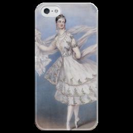 """Чехол для iPhone 5 глянцевый, с полной запечаткой """"Мария Тальони в балете «Бог и баядерка»"""" - картина, шалон"""