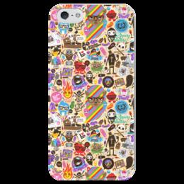"""Чехол для iPhone 5 глянцевый, с полной запечаткой """"Боюсь, Что Вы Девушка"""" - sticker bombing, стикер-арт"""