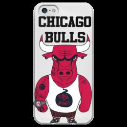 """Чехол для iPhone 5 глянцевый, с полной запечаткой """"Chicago Bulls"""" - баскетбол, bulls, chicago bulls, чикаго буллз, быки"""