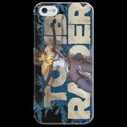 """Чехол для iPhone 5 глянцевый, с полной запечаткой """"Tomb Raider"""" - приключения, tomb raider, лара крофт"""