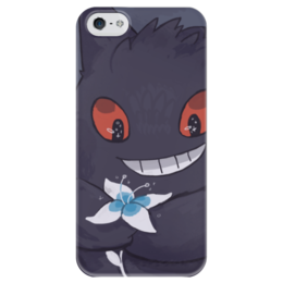 """Чехол для iPhone 5 глянцевый, с полной запечаткой """"Генгар"""" - pokemon go, покемон го, гастли, gengar, хонтер"""