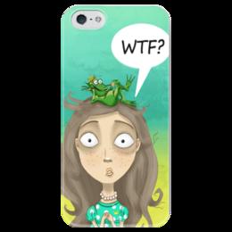 """Чехол для iPhone 5 глянцевый, с полной запечаткой """"принцесса и лягушка"""" - мультяшки, лягушка, принцесса"""