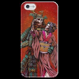 """Чехол для iPhone 5 глянцевый, с полной запечаткой """"Dead Samurai"""" - самурай, япония, japan, кимоно"""
