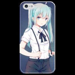 """Чехол для iPhone 5 глянцевый, с полной запечаткой """"Miku vocaloid4"""" - vocaloid, аниме, мику хацуне, мику, вокалоиды"""