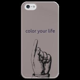 "Чехол для iPhone 5 глянцевый, с полной запечаткой ""Яркий"" - арт, серый, цвет, color"