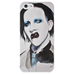 "Чехол для iPhone 5 глянцевый, с полной запечаткой ""Marilyn Manson"" - арт, art, black, rock, eyes, color, lips, marilyn manson, watercolor, glam rock"