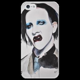 "Чехол для iPhone 5 глянцевый, с полной запечаткой ""Marilyn Manson"" - арт, art, black, rock, eyes, color, lips, marilyn manson, watercolor, мэрилин мэнсон"