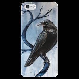 """Чехол для iPhone 5 глянцевый, с полной запечаткой """"Ворон"""" - мрак, смерть, ворон, тьма, raven"""