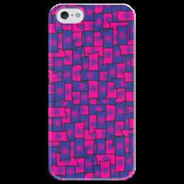 """Чехол для iPhone 5 глянцевый, с полной запечаткой """"Прямоугольники"""" - черный, красный, синий, край, прямоугольник"""