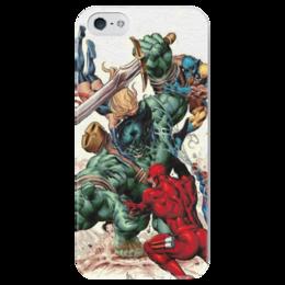 """Чехол для iPhone 5 глянцевый, с полной запечаткой """"Marvel heroes """" - comics, комиксы, герои, marvel, марвел"""