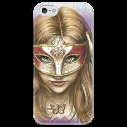 """Чехол для iPhone 5 глянцевый, с полной запечаткой """"Девушка в маске"""" - арт, девушка, mask, рисунок, в подарок, девушке, маска, карнавал, carnaval"""