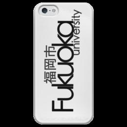 """Чехол для iPhone 5 глянцевый, с полной запечаткой """"Fukuoka University Black"""" - city, япония, japan, fukuoka"""