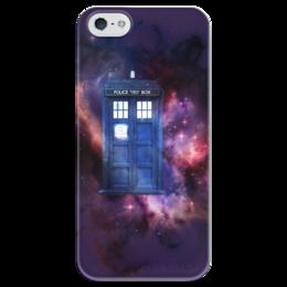 "Чехол для iPhone 5 глянцевый, с полной запечаткой ""Doctor Who "" - космос, doctor who, tardis, bbc, научная фантастика, доктор кто, science fiction, тардис"