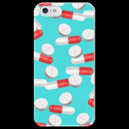 """Чехол для iPhone 5 глянцевый, с полной запечаткой """"Таблетки"""" - медицина, лечение, таблетки, пилюли, капсулы"""