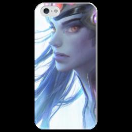 """Чехол для iPhone 5 глянцевый, с полной запечаткой """"Роковая вдова"""" - blizzard, близзард, overwatch, овервотч, widowmaker"""