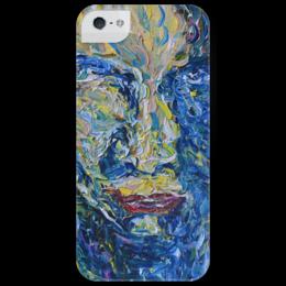 """Чехол для iPhone 5 глянцевый, с полной запечаткой """"Взгляд"""" - лицо, человек, eyes, glance, таинственный, mysterious"""