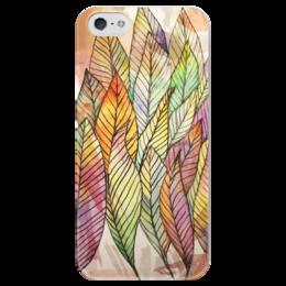"""Чехол для iPhone 5 глянцевый, с полной запечаткой """"Watercolor quill"""" - art, цвета, краски, подарок, акварель, перо, перья, ручная работа, feather, hand made"""