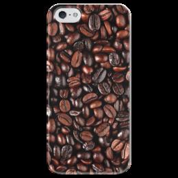 """Чехол для iPhone 5 глянцевый, с полной запечаткой """"Кофе   """" - в подарок, кофе, напитки, coffee, beans, кофе в зернах, dark roast"""