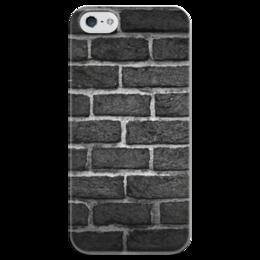 """Чехол для iPhone 5 глянцевый, с полной запечаткой """"Кирпичный"""" - узор, рисунок, стена, камень, кирпич"""