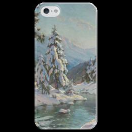 """Чехол для iPhone 5 глянцевый, с полной запечаткой """"Зимний пейзаж с елями"""" - картина, вещилов"""