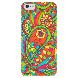 """Чехол для iPhone 5 глянцевый, с полной запечаткой """"Цветочный дудл"""" - арт, цветы, узор, дудл"""