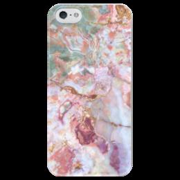 "Чехол для iPhone 5 глянцевый, с полной запечаткой ""Розовый мрамор."" - розовый, мрамор, stone, marble, голубой"