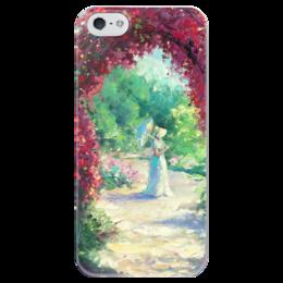 """Чехол для iPhone 5 глянцевый, с полной запечаткой """"В летнем саду!"""" - цветы, роза, чехол на телефон, принт на чехле, оригинпльный подарок"""