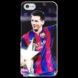 """Чехол для iPhone 5 глянцевый, с полной запечаткой """"Лионель Месси """" - barcelona, messi, lionel messi, fcb, лионель месси"""