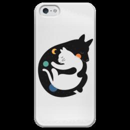 """Чехол для iPhone 5 глянцевый, с полной запечаткой """"Two Kitties"""" - кот, кошка, звезды, космос, котик"""