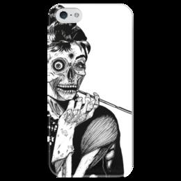 """Чехол для iPhone 5 глянцевый, с полной запечаткой """"Поздний завтрак у Тиффани"""" - zombie, девушкам, iphone5, тиффани, breakfast at tiffany's"""