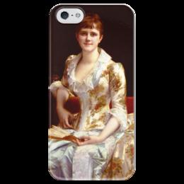 """Чехол для iPhone 5 глянцевый, с полной запечаткой """"Портрет молодой леди"""" - картина, кабанель"""