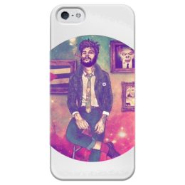"Чехол для iPhone 5 глянцевый, с полной запечаткой ""Харизматик "" - хипстер, smoking, hipster, харизматик"