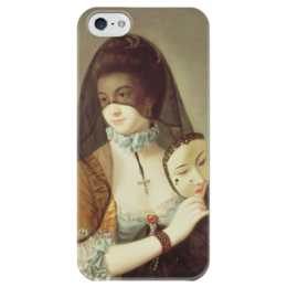 """Чехол для iPhone 5 глянцевый, с полной запечаткой """"Таинственная незнакомка"""" - картина, морланд"""