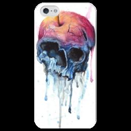 """Чехол для iPhone 5 глянцевый, с полной запечаткой """"Rotten apple"""" - skull, череп, акварель, яблоко"""