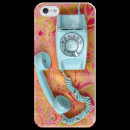 """Чехол для iPhone 5 глянцевый, с полной запечаткой """"Привет из 90-x: Ретро трубка"""" - ретро, привет из 90-x, телефон, retro"""