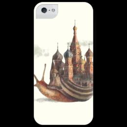 """Чехол для iPhone 5 глянцевый, с полной запечаткой """"Улитка-матушка"""" - москва, moscow, улитка, iphone5, snail"""