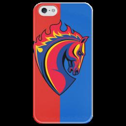 """Чехол для iPhone 5 глянцевый, с полной запечаткой """"Символика CSKA"""" - moscow, football, цска, fc cska"""