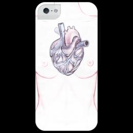 """Чехол для iPhone 5 глянцевый, с полной запечаткой """"Heart"""" - сердце, арт, девушка, в подарок"""