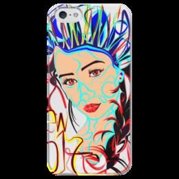 """Чехол для iPhone 5 глянцевый, с полной запечаткой """"Снегурочка New 2017"""" - снегурочка"""