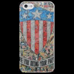 """Чехол для iPhone 5 глянцевый, с полной запечаткой """"Капитан Америка"""" - комиксы, марвел, captain america"""