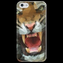 """Чехол для iPhone 5 глянцевый, с полной запечаткой """"Polygon tiger"""" - кот, хищник, tiger, тигр"""