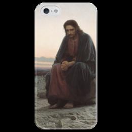 """Чехол для iPhone 5 глянцевый, с полной запечаткой """"Христос в пустыне (картина Крамского)"""" - картина, крамской"""