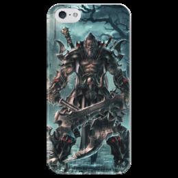 "Чехол для iPhone 5 глянцевый, с полной запечаткой ""Barbarian"" - blizzard, diablo, диабло, близзард, варвар"