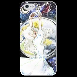 """Чехол для iPhone 5 глянцевый, с полной запечаткой """"космос"""" - арт, рисунок, еся, space"""
