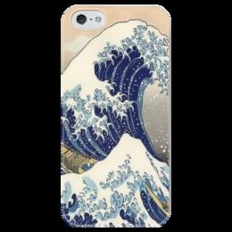 """Чехол для iPhone 5 глянцевый, с полной запечаткой """"Большая волна"""" - волна, искусство, япония, хокусай, укиё"""