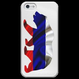 """Чехол для iPhone 5 глянцевый, с полной запечаткой """"Русский Медведь"""" - bear, медведь, русский, флаг, russian"""