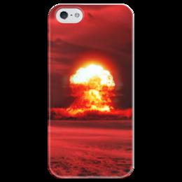 """Чехол для iPhone 5 глянцевый, с полной запечаткой """"Ядерный взрыв Nuclear explosion"""" - взрыв, ядерная война, nuclear war, третья мировая, атомная бомба"""