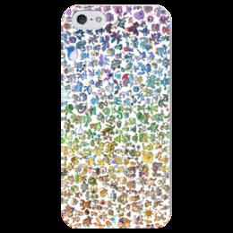 """Чехол для iPhone 5 глянцевый, с полной запечаткой """"Все покемоны"""" - pokemon go, покемоны, пикачу, мульт, бульбазавр"""