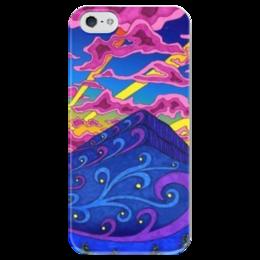 """Чехол для iPhone 5 глянцевый, с полной запечаткой """"Закат"""" - небо, закат, фэнтэзи"""